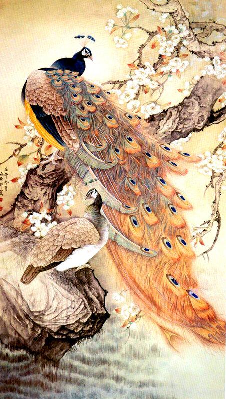 Китайская живопись - павлины