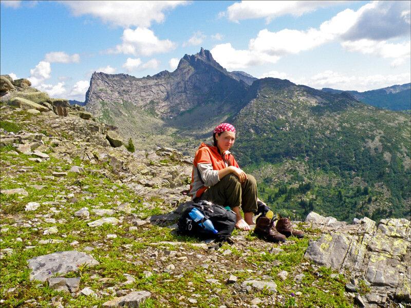 Ольга на вершине хребта