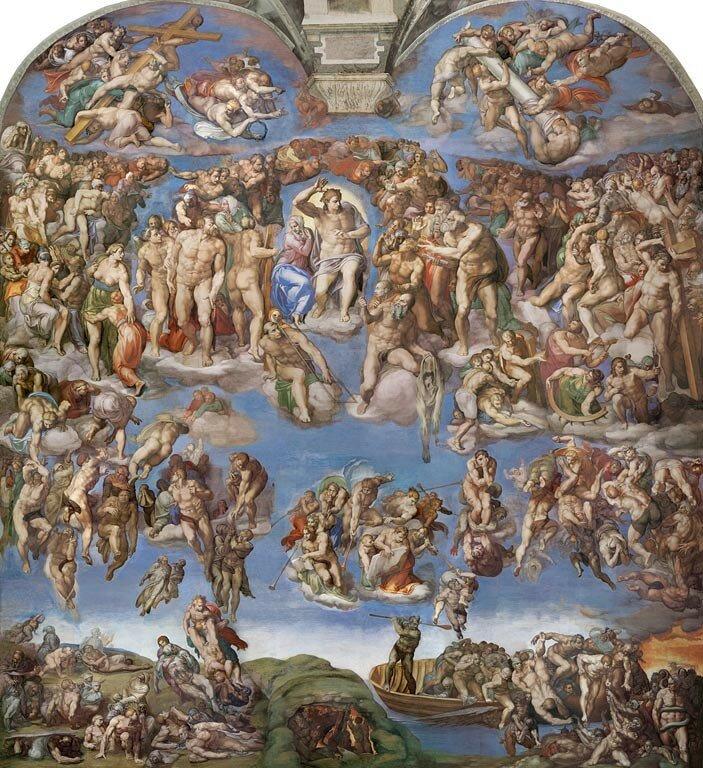 Буонарроти МикеланджелоСтрашный суд. Фреска алтарной стены  [1535-1541]
