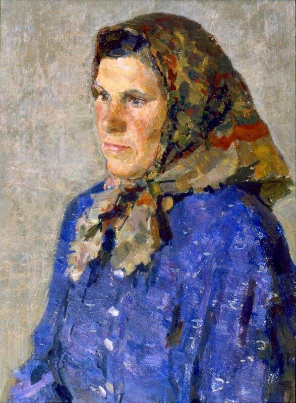 Е.В. Рябинский. Портрет доярки Поповой. 1965