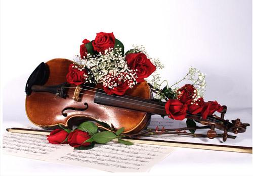 Открытки. 1 октября. Международный День Музыки! Розы на скрипке