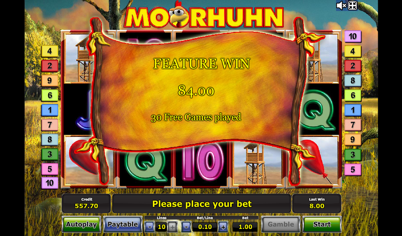 moorhuhn feature win