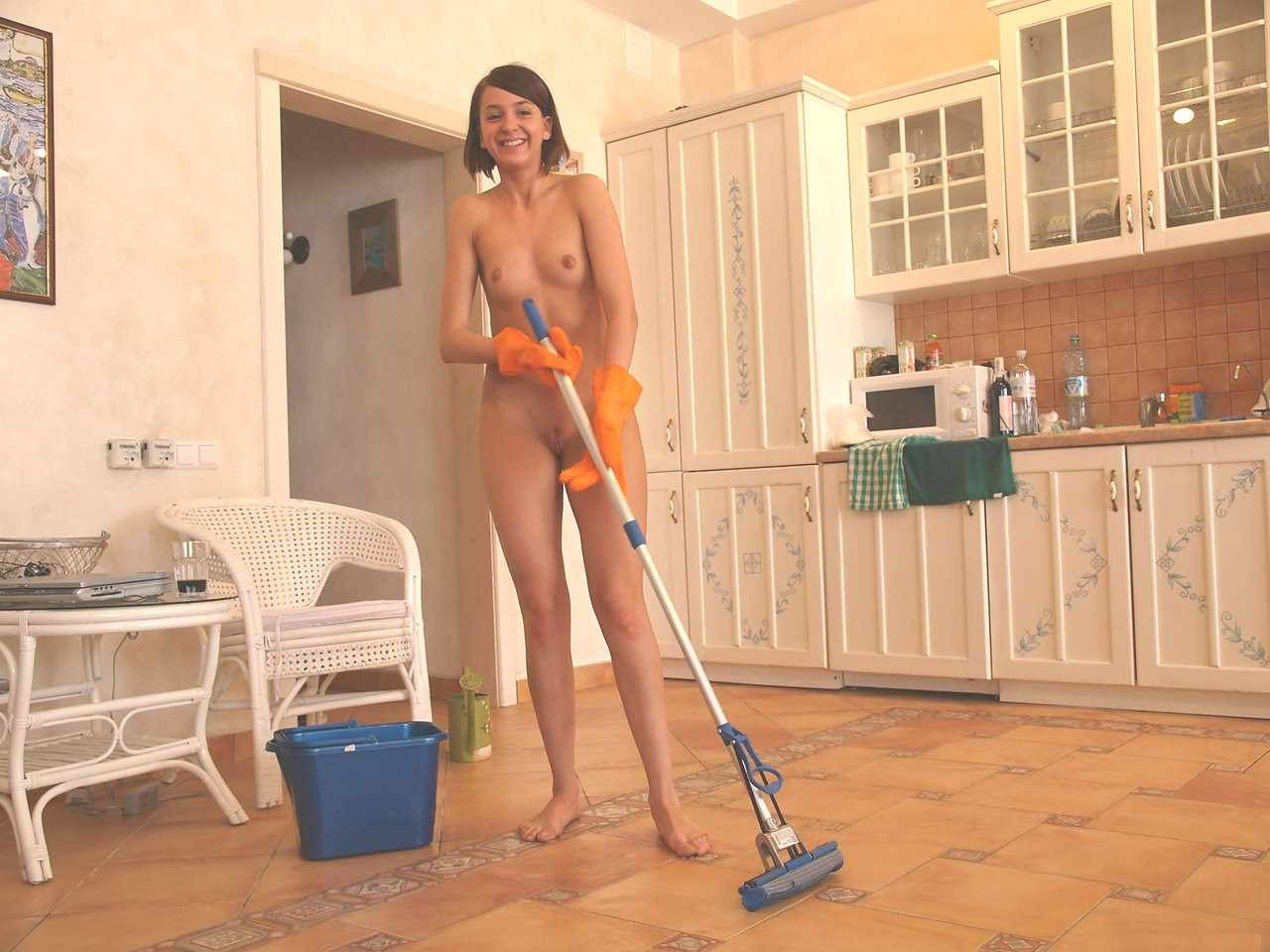 Nude female cleaners