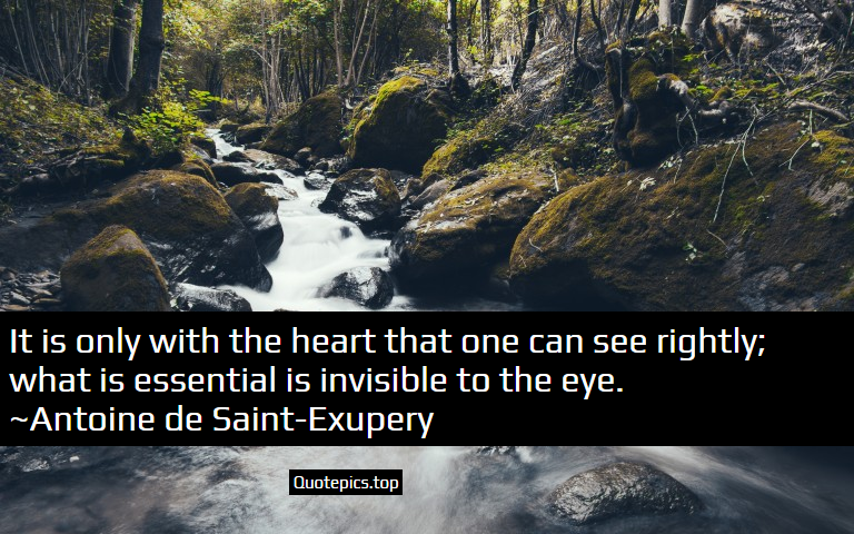 It is only with the heart that one can see rightly; what is essential is invisible to the eye. ~Antoine de Saint-Exupery
