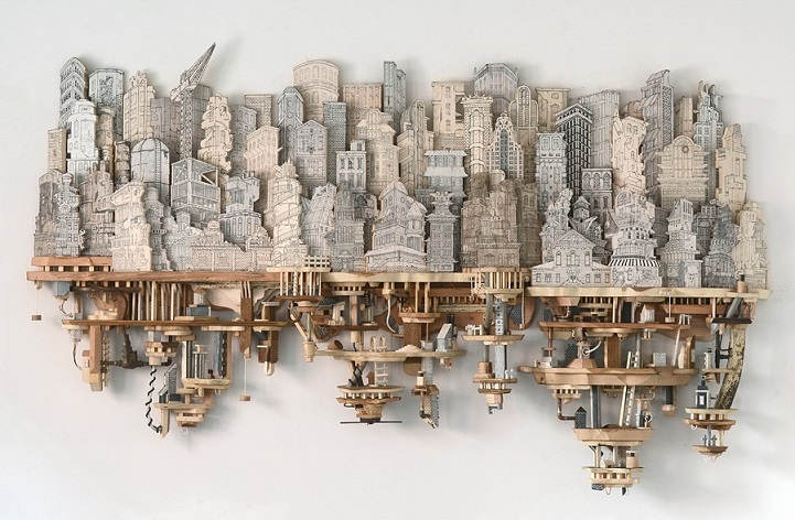 Miniature Cities Built with Carvings and Illustrations