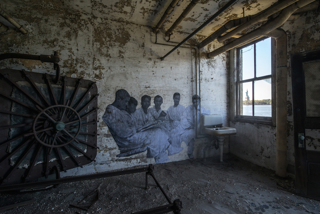 Larger-Than-Life Historical Photos in Ellis Island by JR