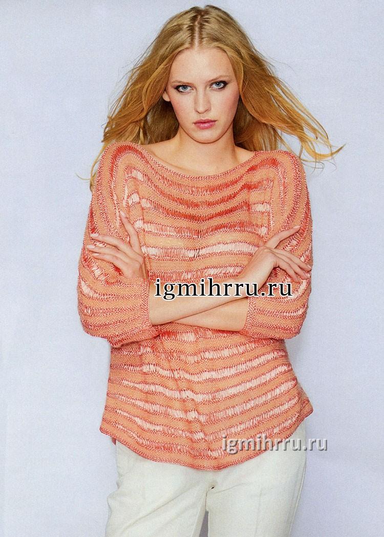 Красно-оранжевый джемпер с полосами фантазийных узоров. Вязание спицами