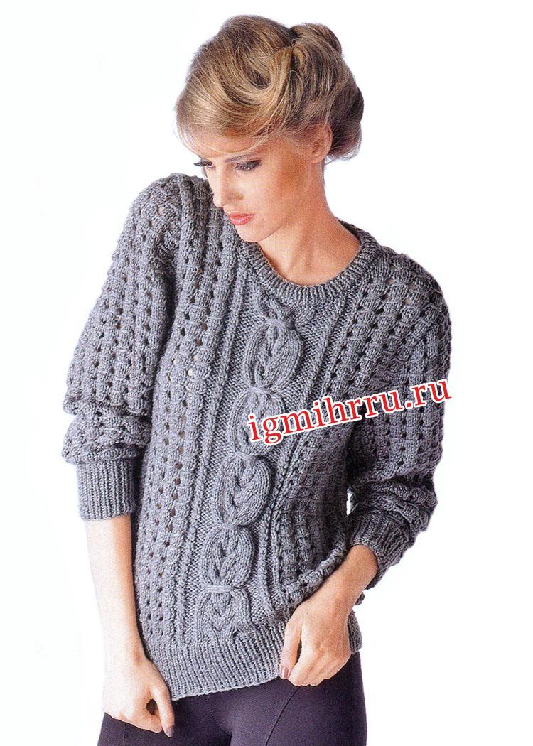Классический серый пуловер с косами и дырочками. Вязание спицами