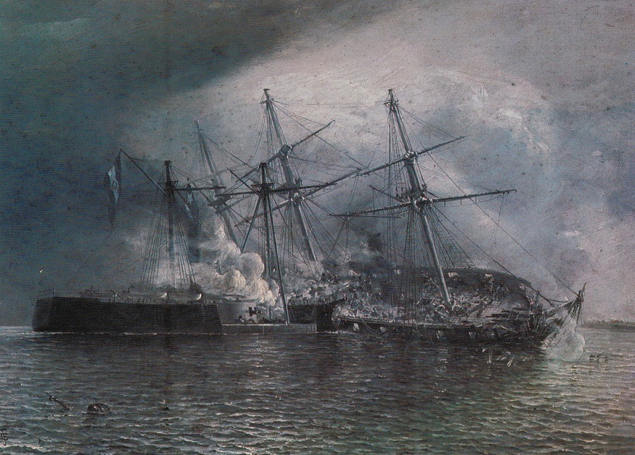 """""""Combate naval de Iquique"""" Thomas Somerscales"""