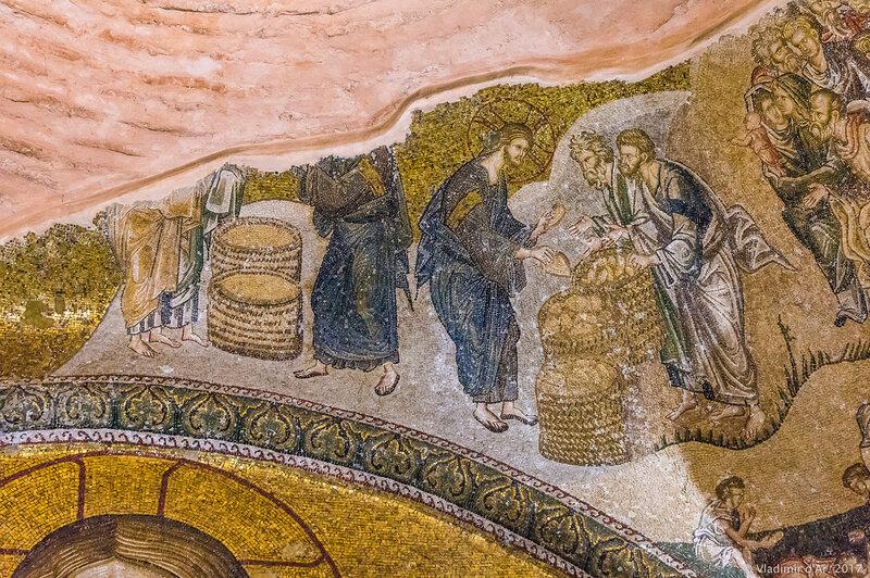 Умножение хлебов. Мозаики и фрески монастыря Хора. Церковь Христа Спасителя в Полях.