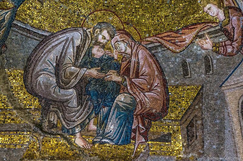 Ласкание Богородицы. Мозаики и фрески монастыря Хора. Церковь Христа Спасителя в Полях.