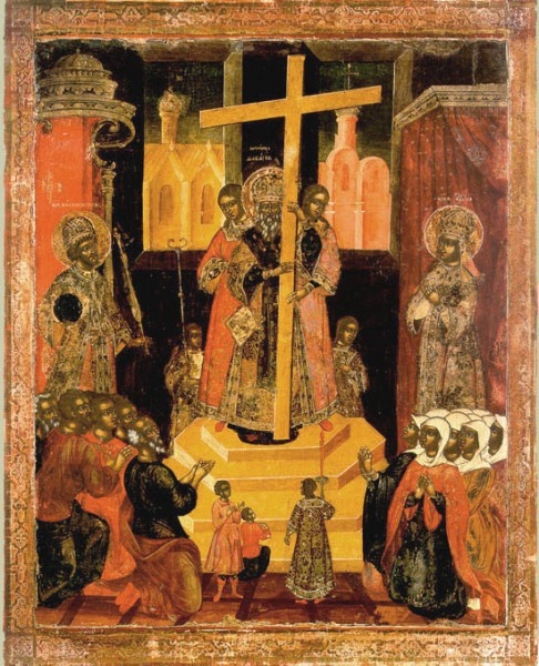 Икона праздника Воздвижения Креста Господня. 18 век открытки фото рисунки картинки поздравления