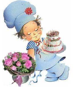 С Международным днем повара. 20 октября. Повар с тортом и цветами открытки фото рисунки картинки поздравления