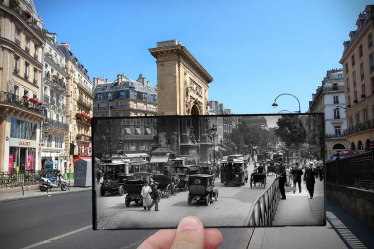 Бульвар Сен-Дени сейчас и в 1910 году.