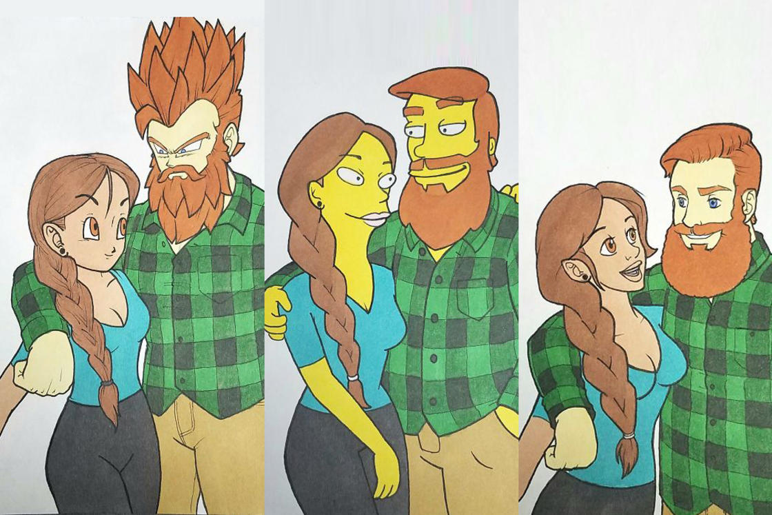 This guy draws his couple by reproducing the style of 10 cult cartoons!