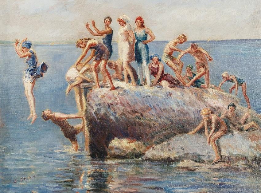 Bathing at Wickford, Rhode Island.