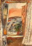 Иван Пуни «Открытое окно, Ривьера» 1926-27 г. Бумага, гуашь, 50 х 34 см.