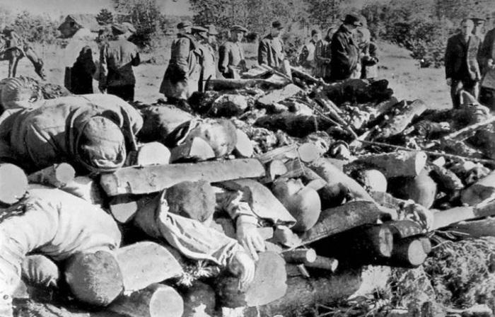 Тела узников концлагеря «Клоога», расстрелянных перед приходом Красной армии. Трупы сложены в специа