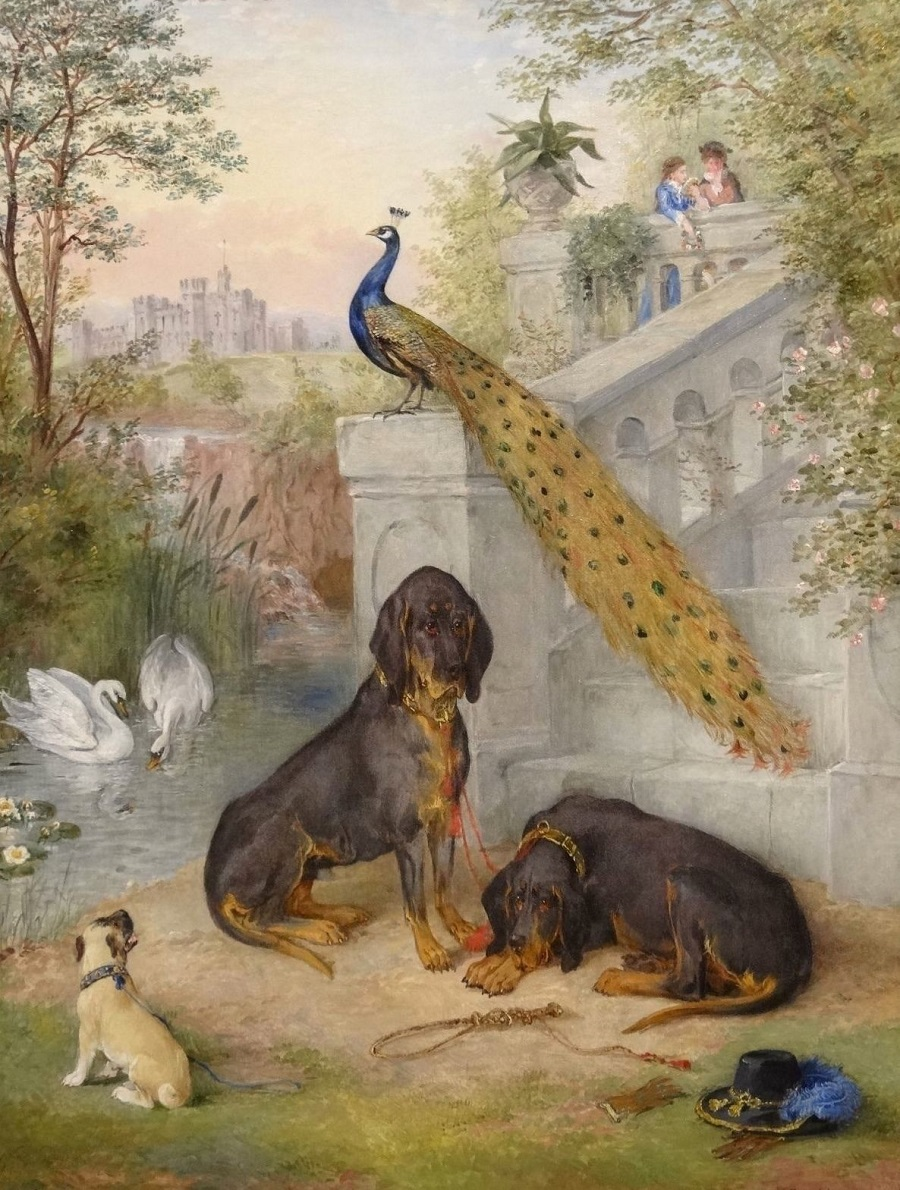 Two Bloodhounds waiting for a pair of lovers leaning upon a balustrade, in a parkland setting, a Gothic castle beyond