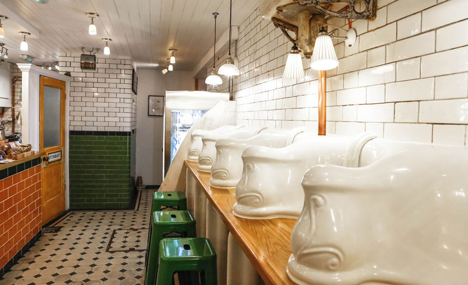 Attendant, underground 1890 Victorian Gentleman's Toilet converted into food cafe. 27A Foley street London W1W 6DY