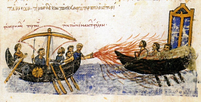 © wikimedia  Греческим огнем называли некую горючую смесь, которую использовали византийцы вм