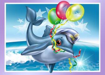 Открытки. День основания ВМФ России. Дельфин с воздушными шариками