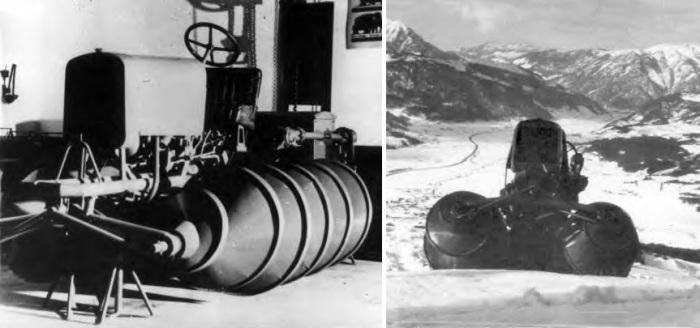 Шнекоход Йоханнеса Редела. В годы Второй мировой войны военные многих стран обратили внимание на уни