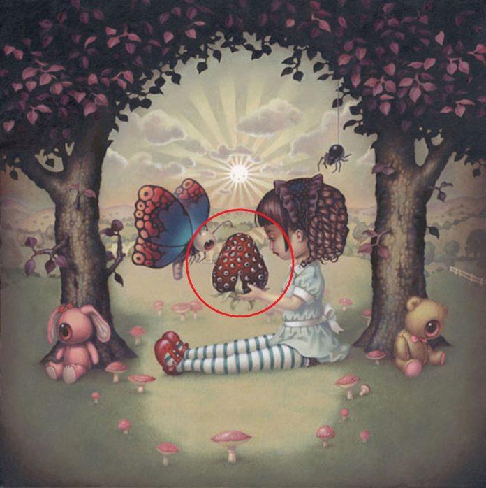 Огромная клубника, расположенная точно в центре изображения, на самом деле символизирует сердце и лю