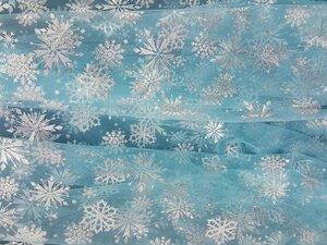 Фатин со снежинками ГОЛУБОЙ 100 п/э вес 18 гр ширина 150 см Наличие 200,00