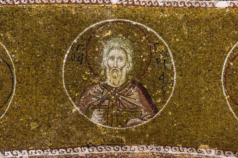Портреты святых в медальонах в экзонартексе. Мозаики и фрески монастыря Хора. Церковь Христа Спасителя в Полях.