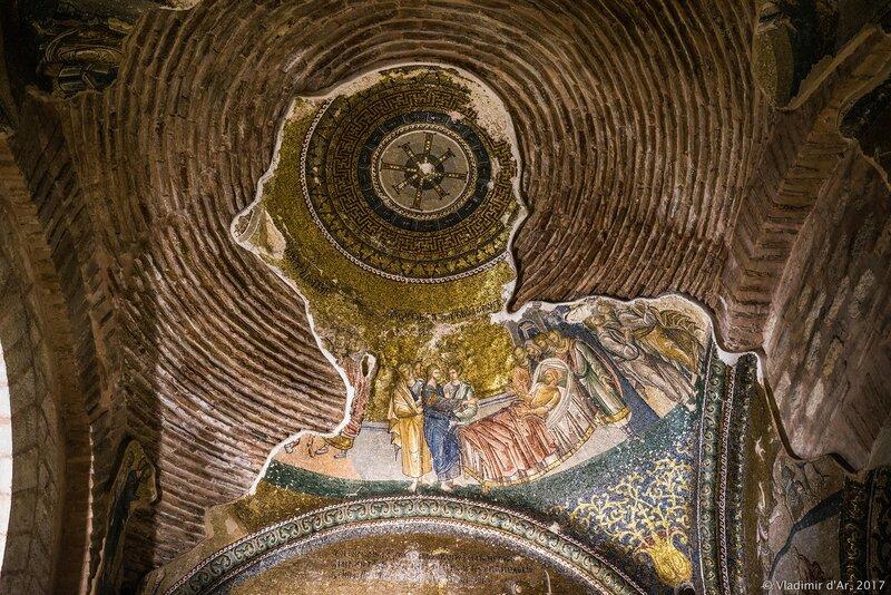 Исцеление расслабленного в Капернауме (фрагмент). Мозаики и фрески монастыря Хора.