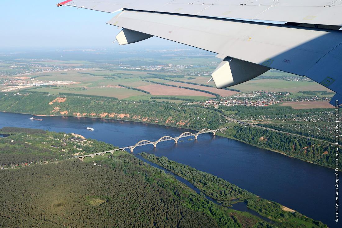 авиафото взлет над Окой из Стригино
