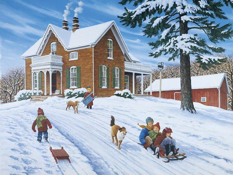 Художник John Sloane. Мы с вершины едем со всего разбегу, И летим и вместе радуемся снегу!