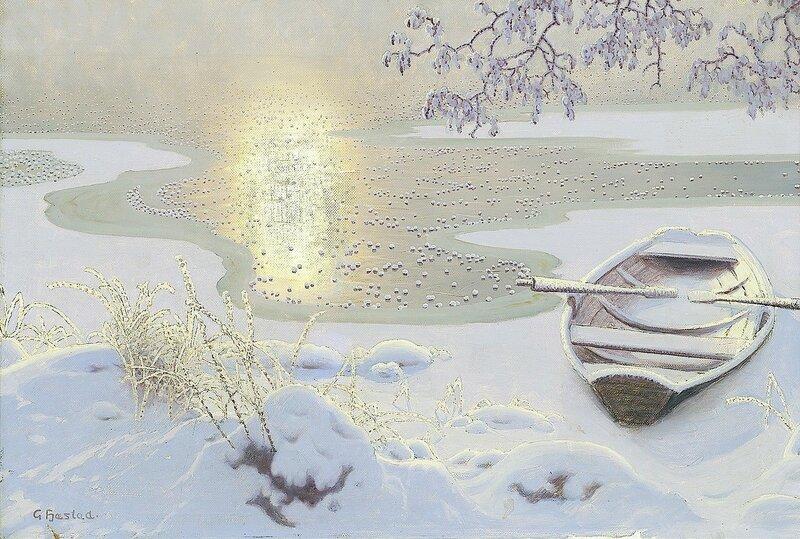 Gustaf Fjaestad. Озеро, покрытое инеем.jpg