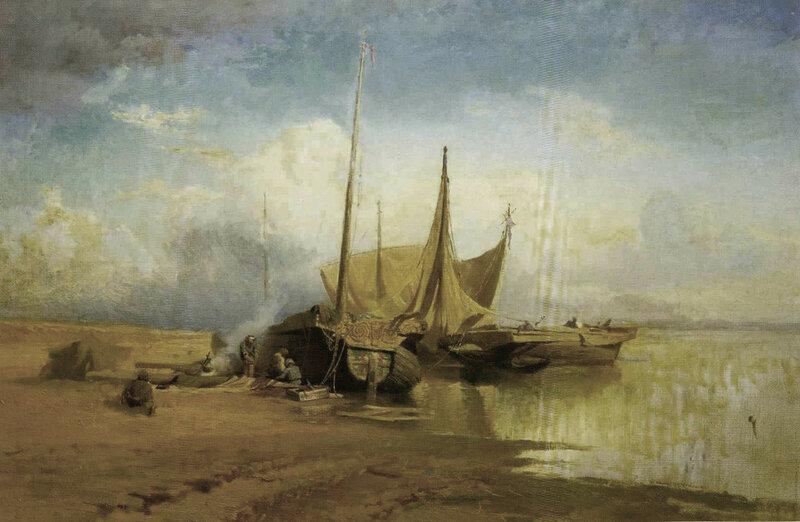 Ф. Васильев. Вид на Волге. Барки. 1870