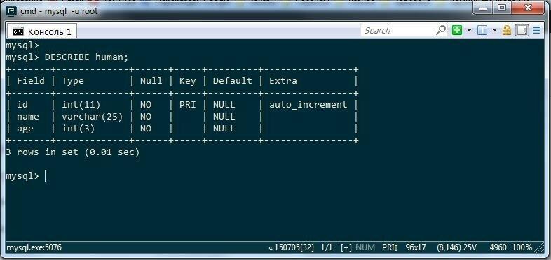 Изучаем SQL структура таблицы