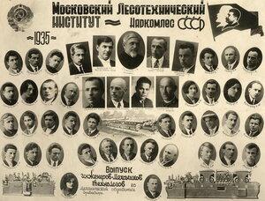 Выпуск иженеров-механиков технологов по механической обработке древесины 1935 год
