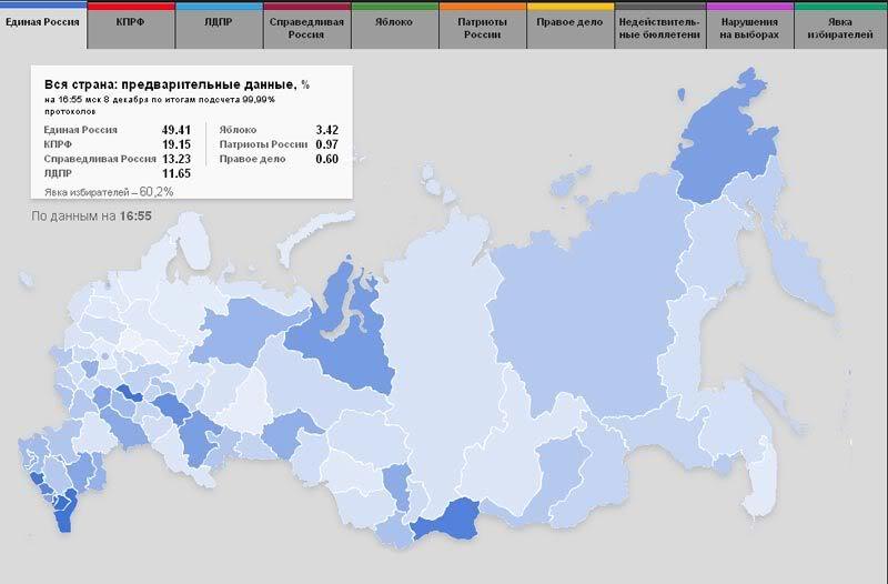 Темно-синим  цветом показаны регионы, где за ЕДРО проголосовало выше 90%