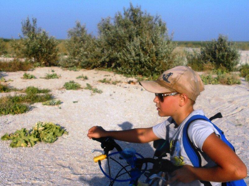 Турист-велосипедист. На косе Ясенской ... Август 2017 ... DSCN4079 - 01.JPG