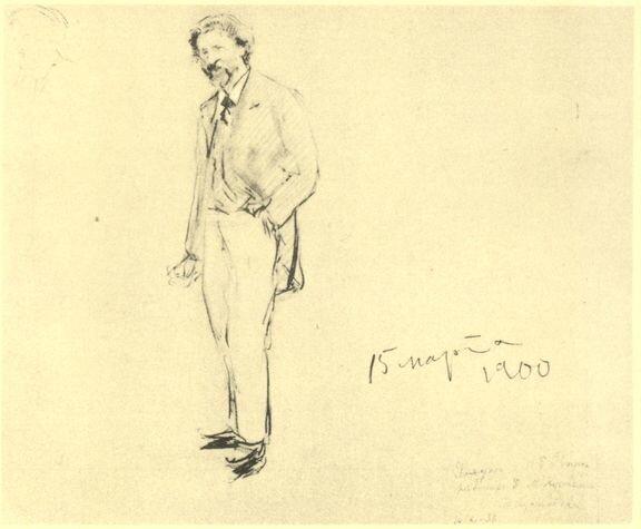 Кустодиев. Портрет И. Е. Репина. Рисунок карандашом. 1900 г