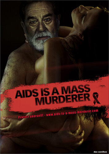 Хуссейн в рекламе анти-СПИД