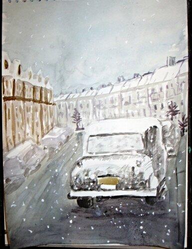 авто. акварельная зима