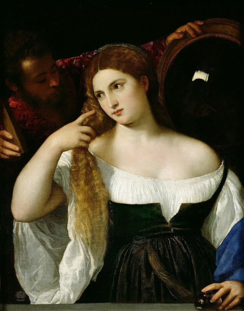 Тициан (Тициано Вечеллио): Женщина перед зеркаломЛувр, Париж (Musée du Louvre, Paris).