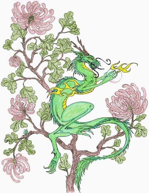 """Схема вышивки  """"Зеленый дракон """" ."""