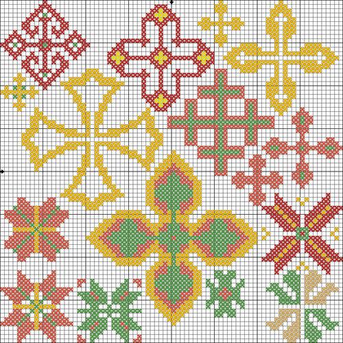 Вышивка с узорами в крестики 635