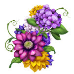 assorted floral composition, flowers illustration