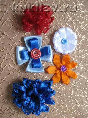 простые цветы из лент