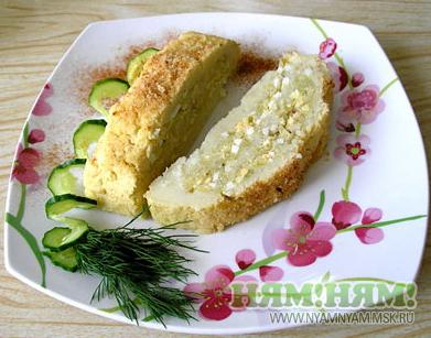 Рулет картофельный с капустой