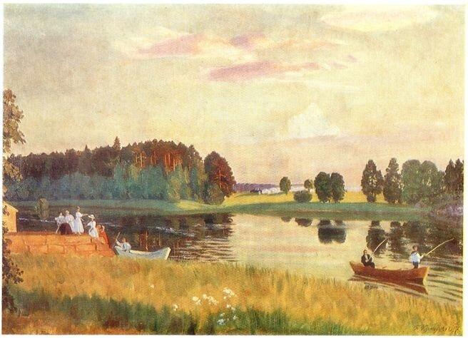 Kustodiev Лесное озеро. 1917