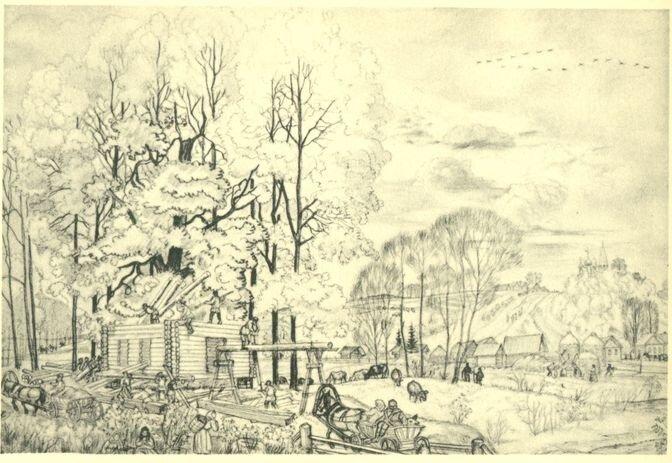 Кустодиев. Осень. Рисунок карандашом. 1919 г. Государственный Русский музей